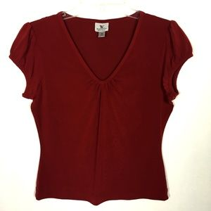 Worthington Deep Red V-Neck Top PM